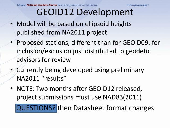 GEOID12 Development