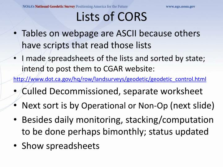 Lists of CORS