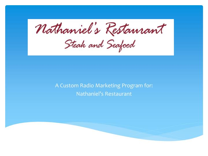 a custom radio marketing program for nathaniel s restaurant n.