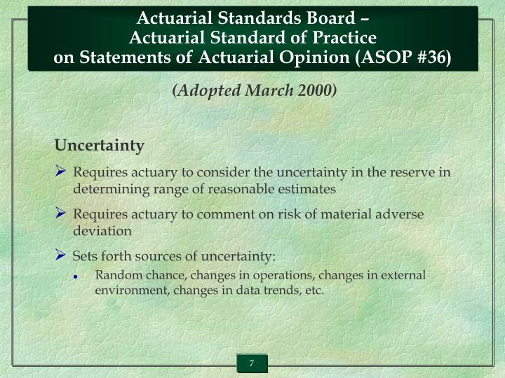 Actuarial Standards Board –