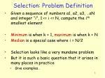 selection problem definition