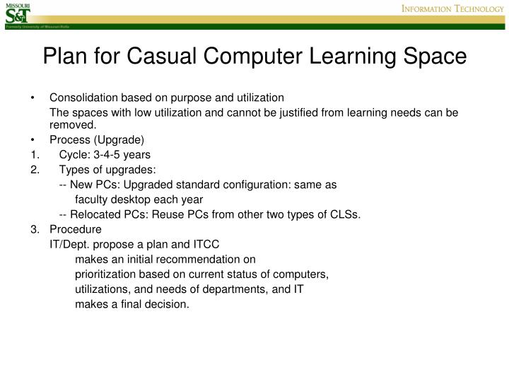 Plan for Casual Computer Learning Space
