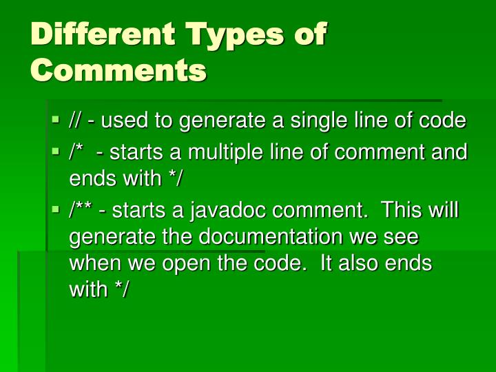 Different Types of Comments