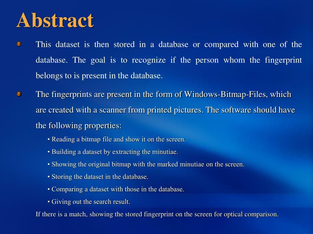 PPT - Finger Print Technology PowerPoint Presentation - ID:3742999