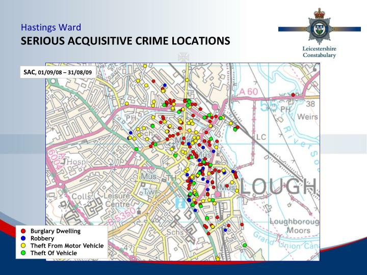 Hastings ward serious acquisitive crime locations