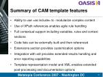 summary of cam template features