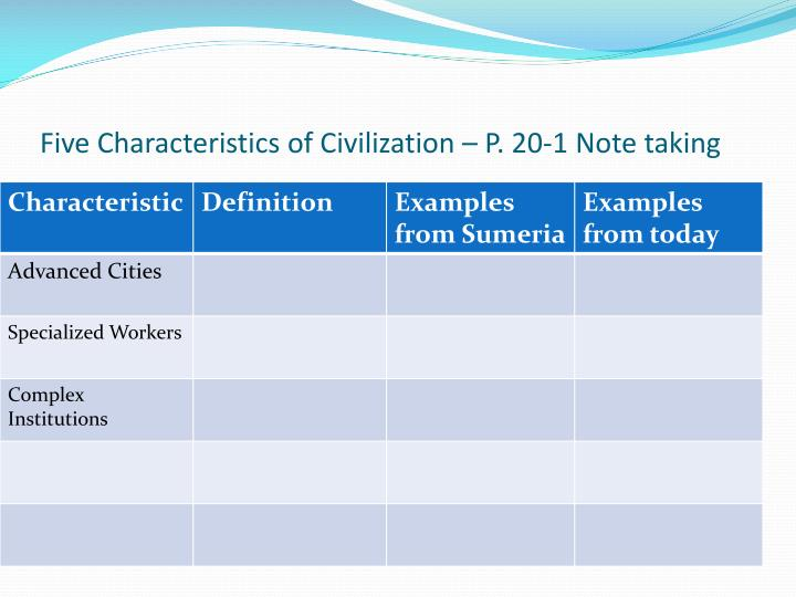Five Characteristics of Civilization – P. 20-1 Note taking