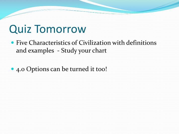 Quiz Tomorrow