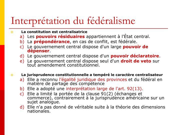Interprétation du fédéralisme