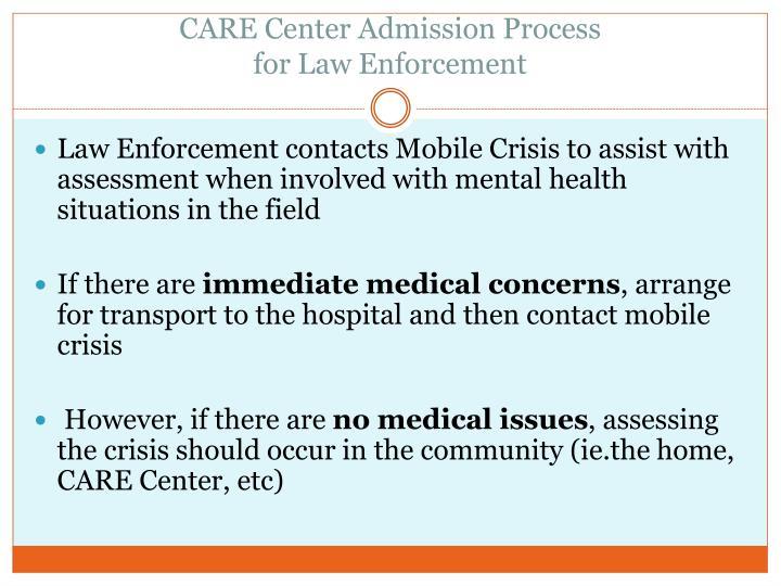 CARE Center Admission Process