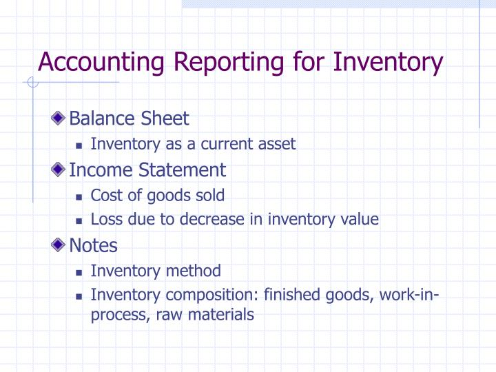 Accounting Reporting for Inventory