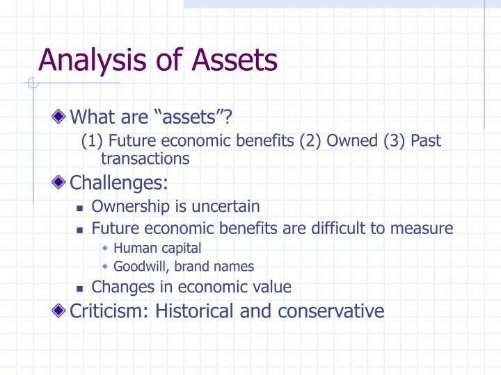 Analysis of Assets