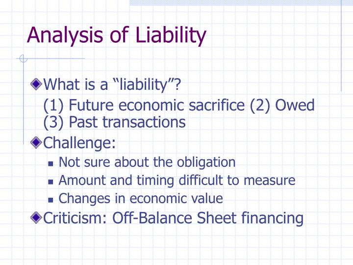 Analysis of Liability