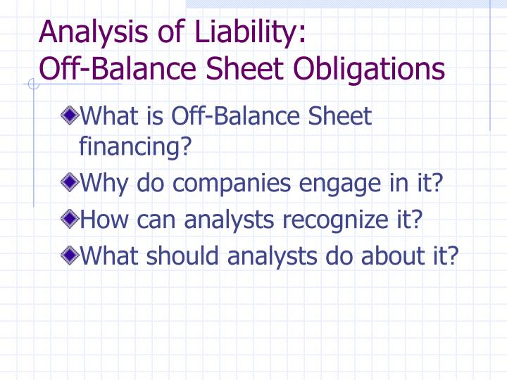Analysis of Liability:
