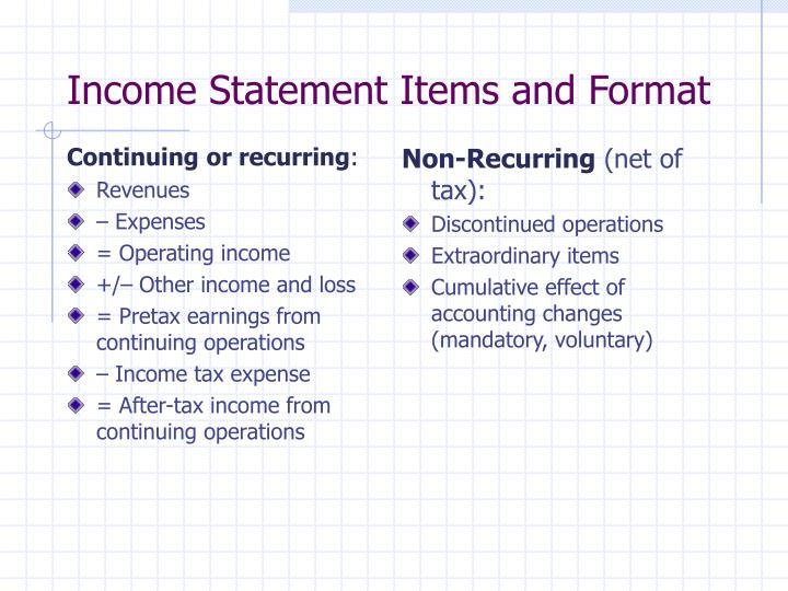 Income statement items and format