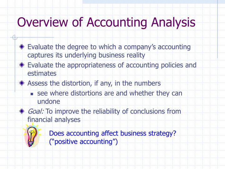 Overview of accounting analysis