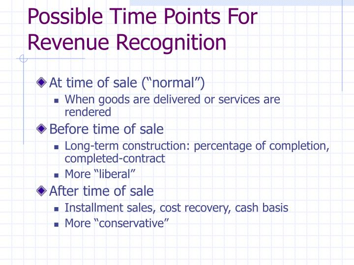 Possible Time Points For Revenue Recognition