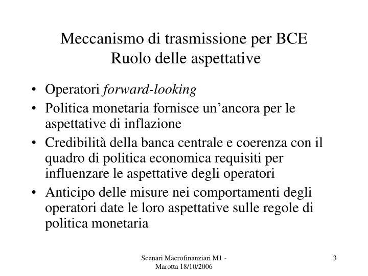 Meccanismo di trasmissione per bce ruolo delle aspettative