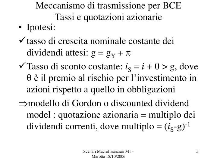 Meccanismo di trasmissione per BCE