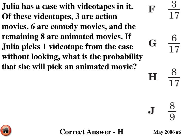 Julia has a case with videotapes in it.  Of these videotapes, 3 are action movies, 6 are comedy movies, and the remaining 8 are animated movies. If Julia picks 1 videotape from the case without looking, what is the probability that she will pick an animated movie?