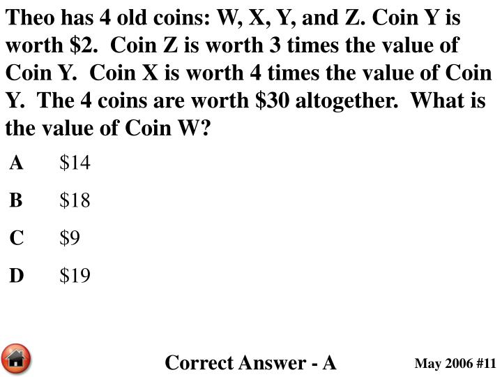 Theo has 4 old coins: W, X, Y, and Z. Coin Y is worth $2.  Coin Z is worth 3 times the value of Coin Y.  Coin X is worth 4 times the value of Coin Y.  The 4 coins are worth $30 altogether.  What is the value of Coin W?