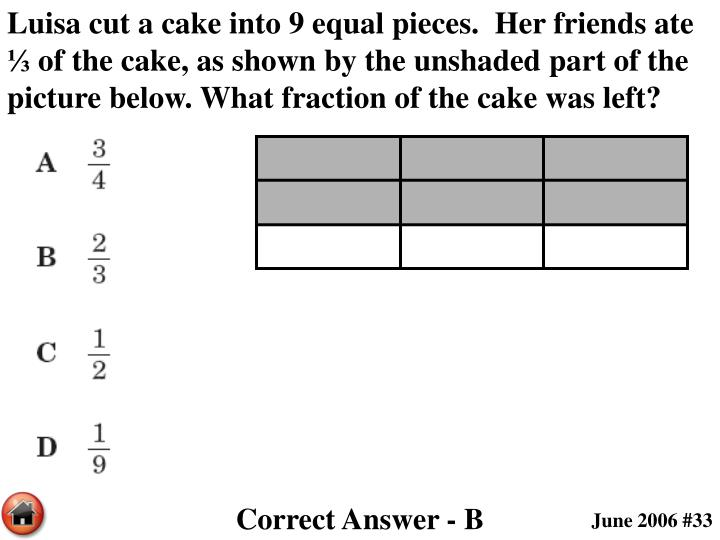 Luisa cut a cake into 9 equal pieces.  Her friends ate