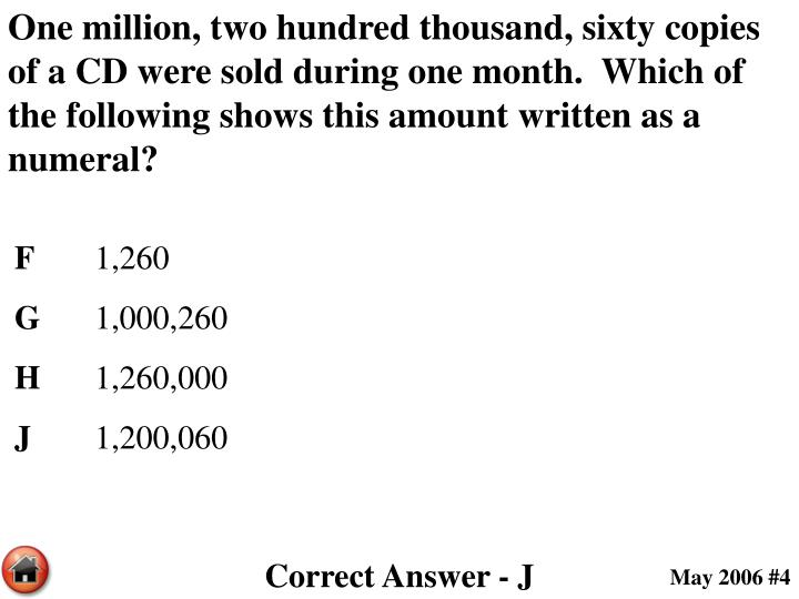One million, two hundred thousand, sixty copies of a CD were sold during one month.  Which of the following shows this amount written as a numeral?