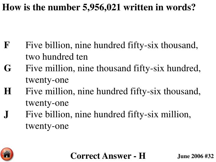 How is the number 5,956,021 written in words?