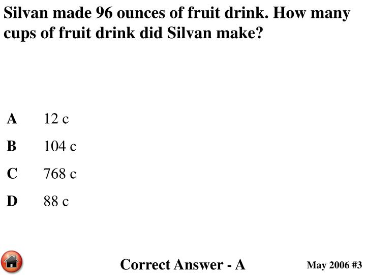 Silvan made 96 ounces of fruit drink. How many cups of fruit drink did Silvan make?