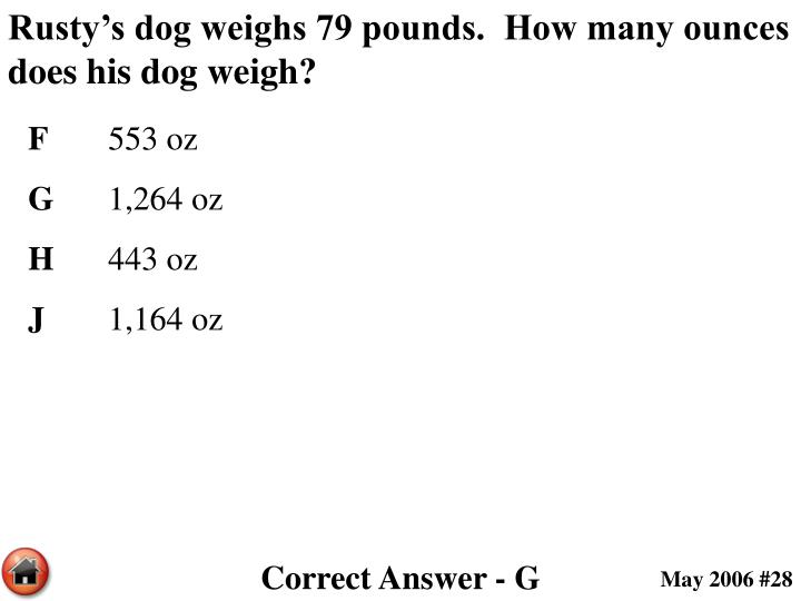 Rusty's dog weighs 79 pounds.  How many ounces does his dog weigh?