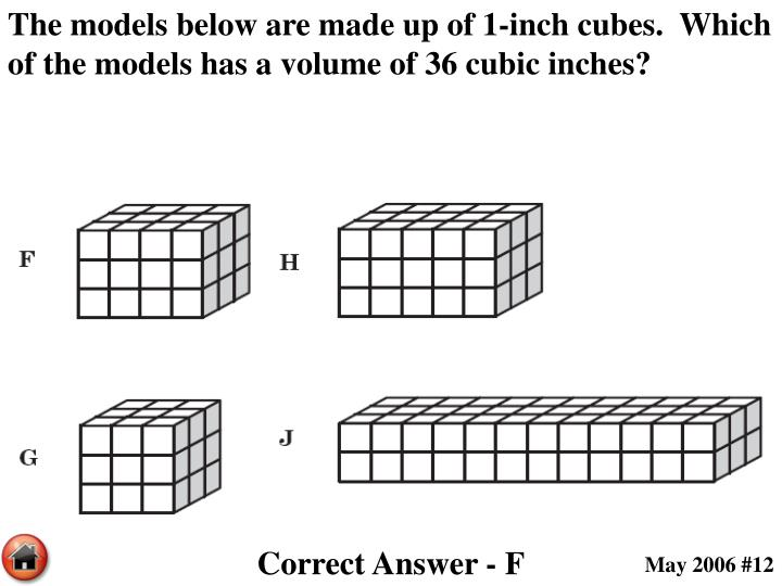 The models below are made up of 1-inch cubes.  Which of the models has a volume of 36 cubic inches?
