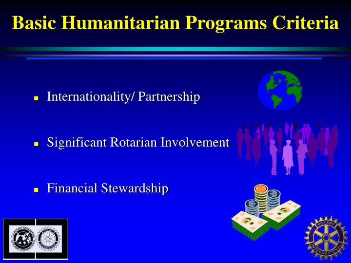 Basic Humanitarian Programs Criteria