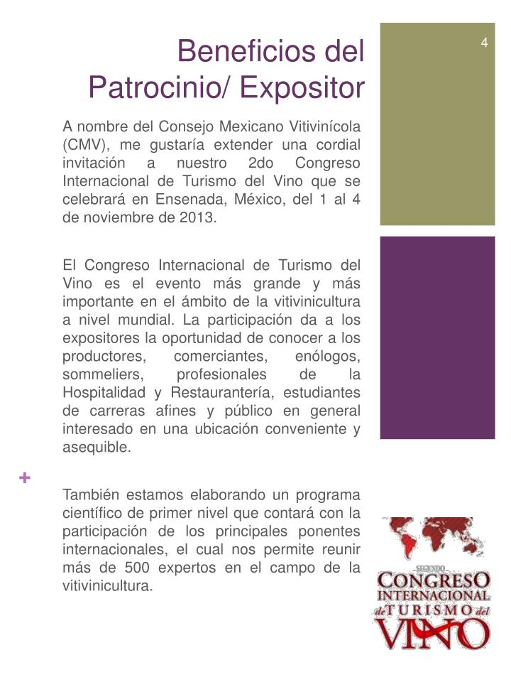 Beneficios del  Patrocinio/ Expositor