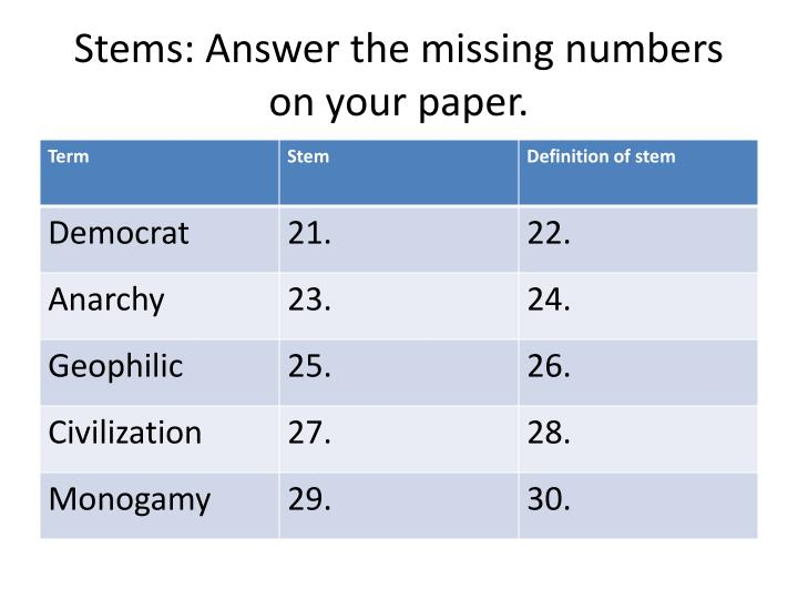 Stems: Answer the missing numbers on your paper.