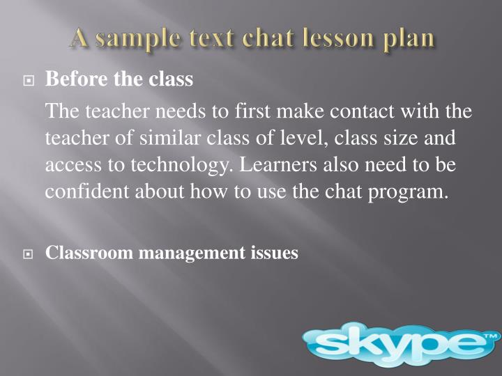 A sample text chat lesson plan
