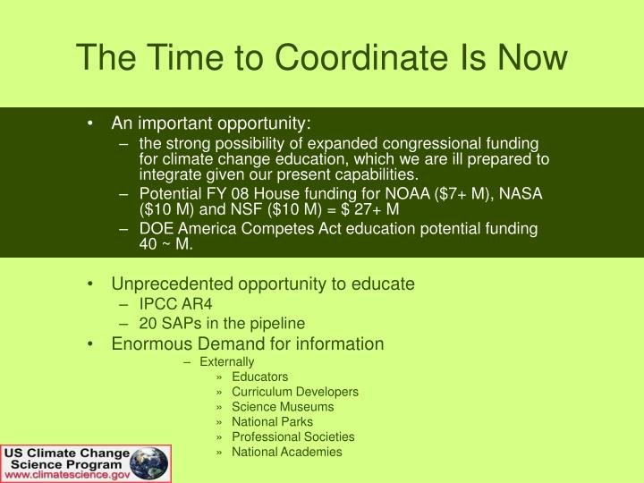 The Time to Coordinate Is Now