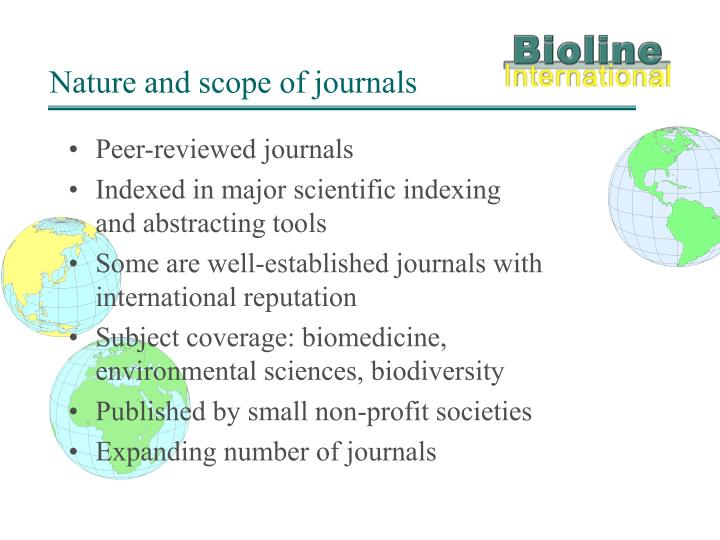 Nature and scope of journals