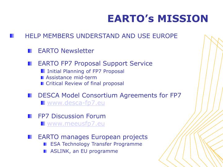 EARTO's MISSION