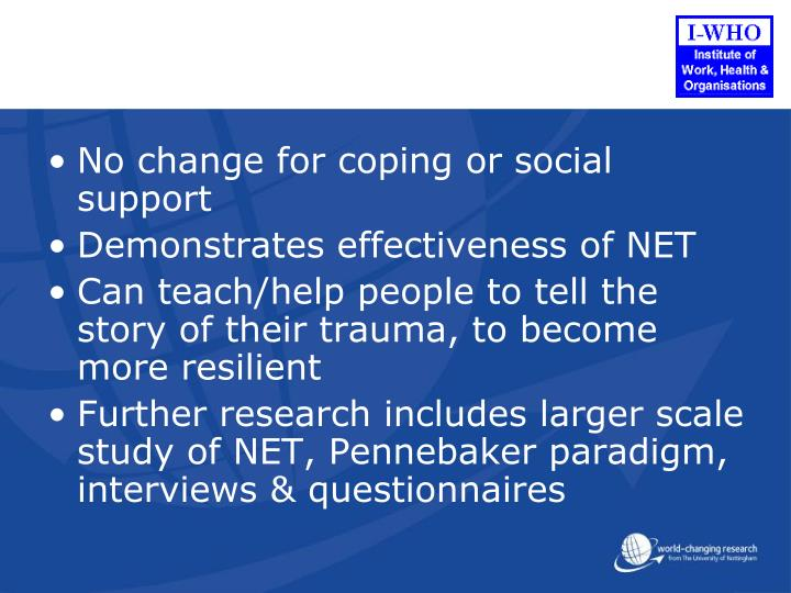 No change for coping or social support