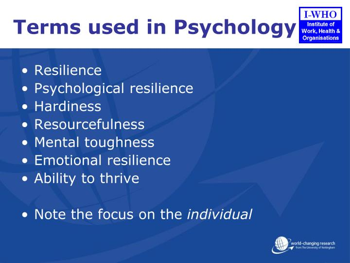 Terms used in Psychology
