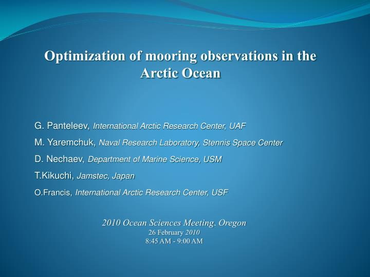 Optimization of mooring observations in the Arctic Ocean