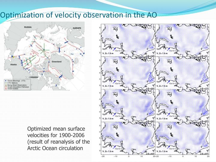 Optimization of velocity observation in the AO