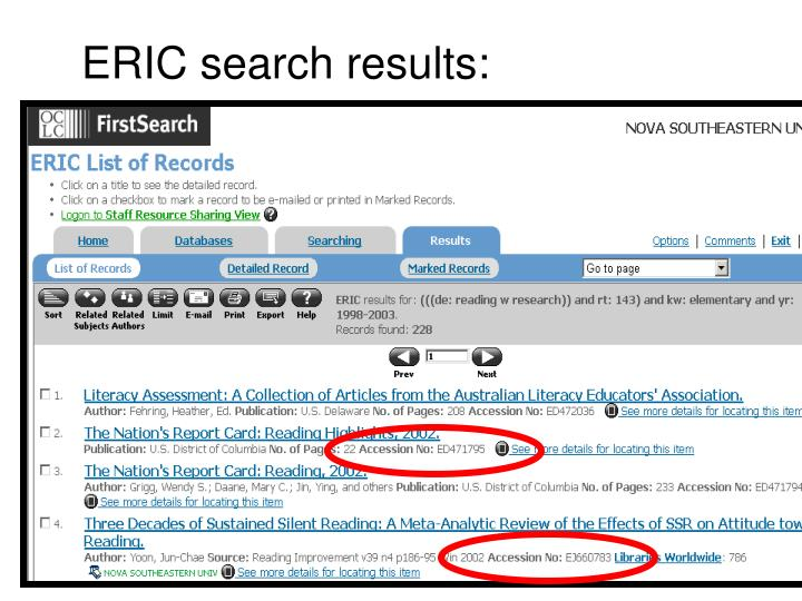 ERIC search results: