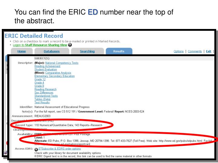 You can find the ERIC
