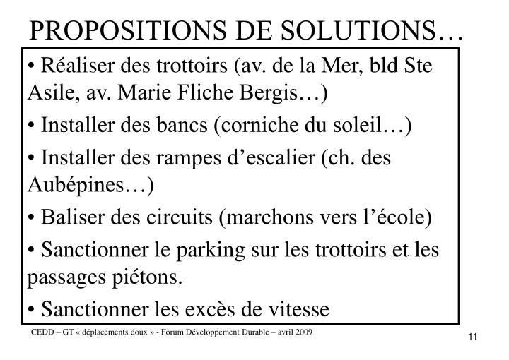 PROPOSITIONS DE SOLUTIONS…