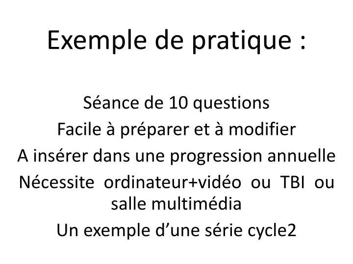 Exemple de pratique :