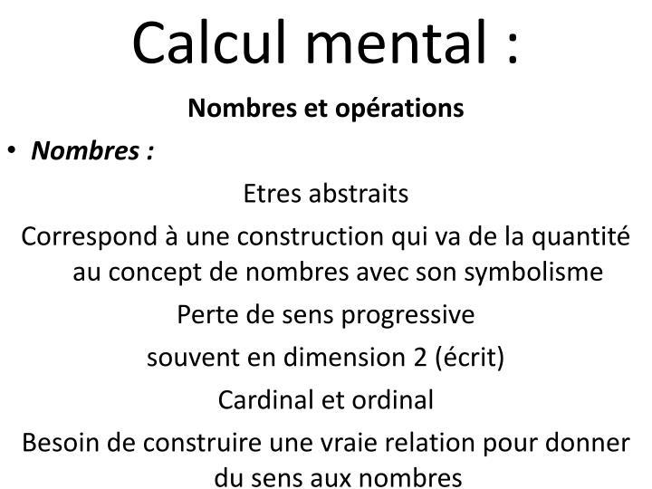 Calcul mental :