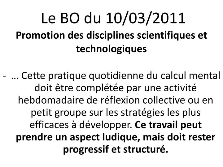 Le BO du 10/03/2011