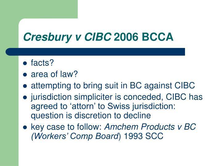 Cresbury v CIBC
