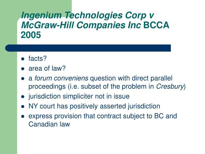 Ingenium Technologies Corp v McGraw-Hill Companies Inc